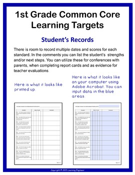 1st Grade Checklists, Learning Targets Posters, Common Core ELA and Math
