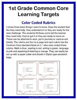 1st Grade Checklist, 1st Grade Assement, Rubrics, Data Tracking, Quick Check