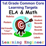1st Grade Checklists, Learning Targets Posters, Common Cor