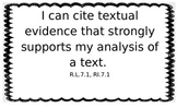 """Learning Targets for Grade 7 Language Arts - """"I Can"""" statements"""