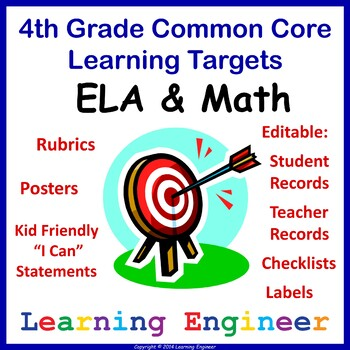 4th Grade Checklists, Learning Target Posters, Common Core ELA and Math