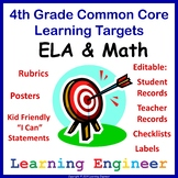4th Grade Checklists, 4th Grade Learning Target Posters, Rubrics and File Labels