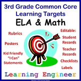 3rd Grade Checklists, 3rd Grade Learning Target Posters, Rubrics and File Labels