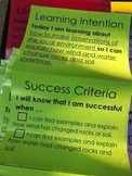 Learning Targets with success criteria - 3rd grade SCIENCE