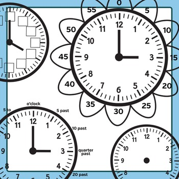 Learning Time Clock Templates Clip Art Set for Commercial Use - Analog Clocks