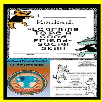 Learning To Be A Good Friend Worksheets, Certificates & Badges SPED/Autism/ODD