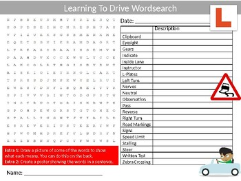 Learning To Drive Wordsearch Sheet Starter Activity Keywords Driving Cars