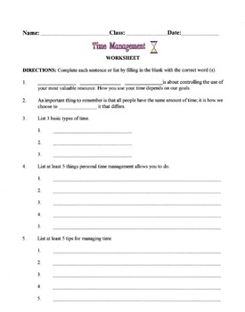 Learning To Manage Time Lesson