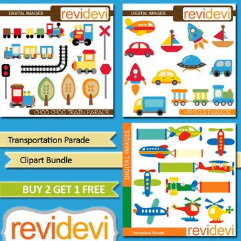 Learning Transportation clip art (3 packs) choo choo trains, cars, airplanes