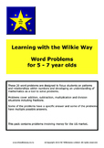 Learning With Wilkie Way Word Problems 5 - 7 year olds