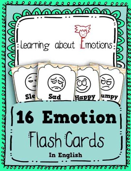 Learn Emotions in English - 16 Flash Cards