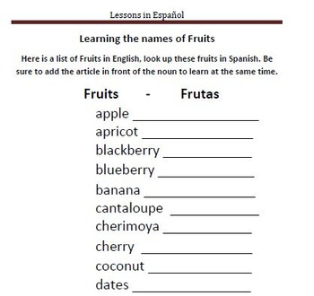 Learning about Fruits in Spanish - Frutas en Español