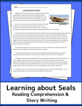 Learning about Seals! Informational Text, Reading Comprehension & Story Writing