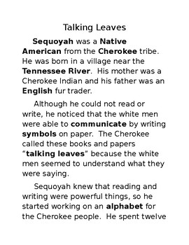 Learning about Sequoyah and the Talking Leaves