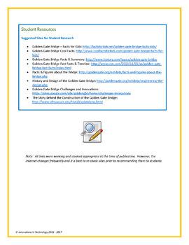 Learning about The Golden Gate Bridge -  WebQuest / Internet Scavenger Hunt
