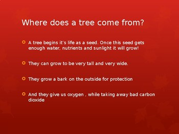 Learning about Trees Powerpoint
