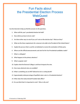Learning about the Presidential Election WebQuest / Internet Scavenger Hunt