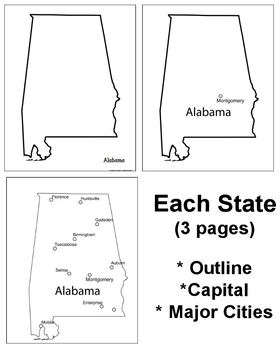 Learning about the U.S.A. - State Maps (Outline - Capitals - Major Cities)