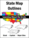 Learning about the U.S.A. - State Maps (Outline - Capitals