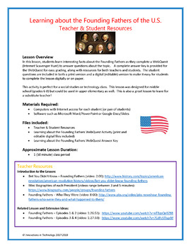 Learning about the U.S. Founding Fathers  - WebQuest / Internet Scavenger Hunt
