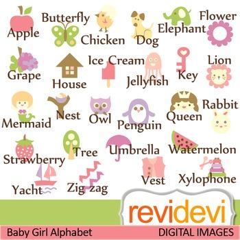 Alphabet clip art for girls