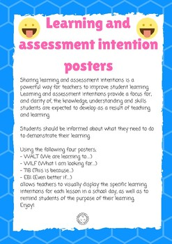 Learning and Assessment intention posters