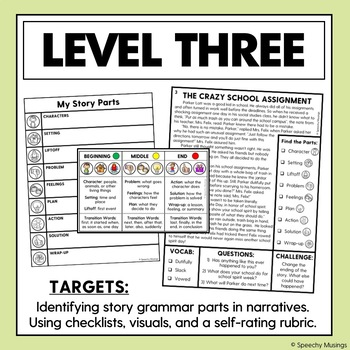 Learning and Identifying Story Grammar Parts in Narratives for Speech Therapy