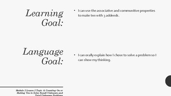 Learning and Language Goals for Eureka Module 2