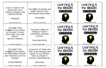 Learning and the Brain Bingo (Teaches Growth Mindset)