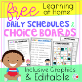 Learning at Home Daily Schedules and Choice Boards (FREE a