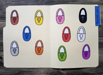 Learning colors with locks and keys File folder sort for colors