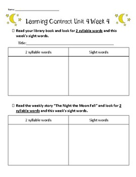 Learning contract for Unit 4 Week 4 of Second Grade Reading Street