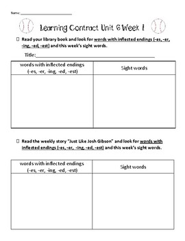 Learning contract for Unit 6 Week 1 of Second Grade Reading Street