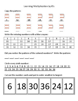 Learning multiplication by 6's