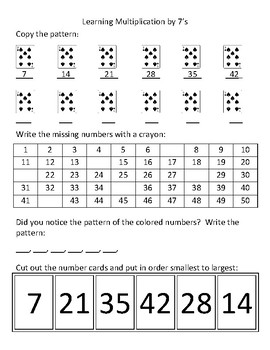 Learning multiplication by 7's