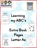 Learning my ABC's  Extra Book Pages Letter Aa