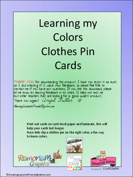 Learning my Colors Clothes Pin Cards