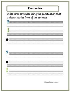 Learning punctation -4 page workbook