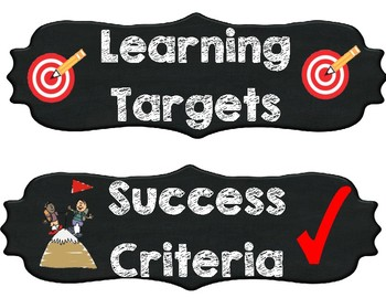 Learning target and Success Criteria Headers