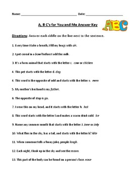 Learning the A,B,C's with Riddles: Worksheet with Detailed Answer Key