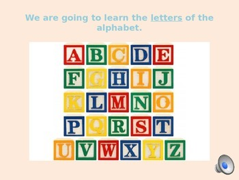 Learning the Alphabet - ESL/EFL Beginners/Newcomers - PowerPoint w/ Audio
