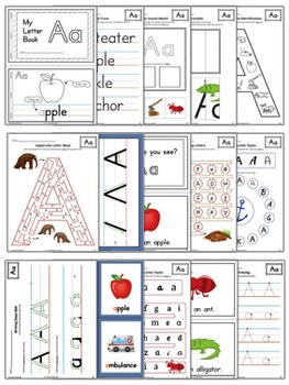 Learning the Alphabet Letter A Workbook {COLOR}