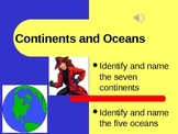 Learning the Continents and Oceans Powerpoint