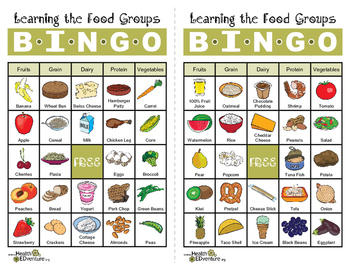 Learning The Food Groups Bingo By Health Edventure Tpt