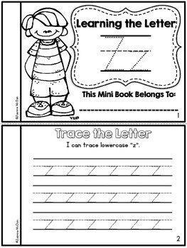 Learning the Letter Z Mini Book