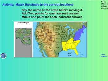 Learn the States - state names, capitals, abbreviations (Smartboard activities)