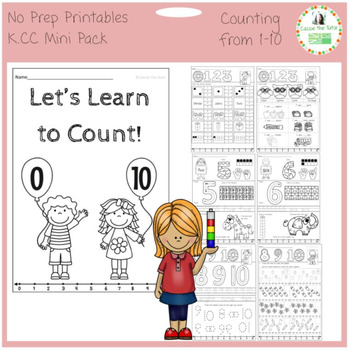 Learning to Count: 0-10 --Common Core K.CC  -- No Prep Printables Mini Pack