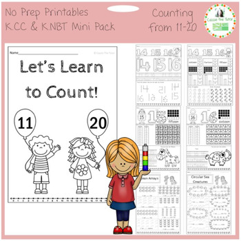 Learning to Count: 11-20 -- K.CC & K. NBT -- No Prep Printables Mini Pack