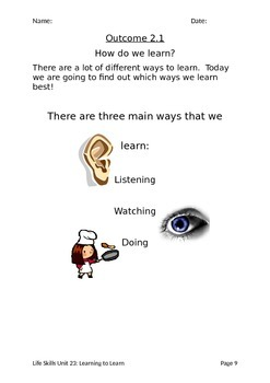 Learning to Learn Workbook (Life Skills / Severe Needs)