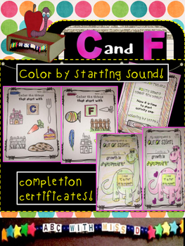 Learning Letters C and F- Minibooks, picture-sorts, coloring, sight words